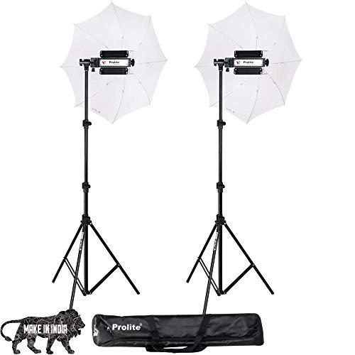 Prolite Porta Kit with Pair of 9 feet Light Stands, Porta Lights, Umbrellas for Video & Still Photography Lighting