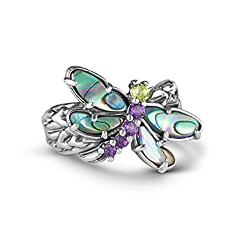 Carolyn Pollack Sterling Silver Abalone Purple Amethyst and Green Peridot Gemstone Dragonfly Ring Size 06