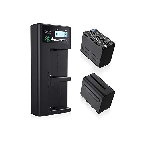 Powerextra LCD Dual Ladegerät mit 2 Stück Ersatzakku für Sony NP-F970 NP-F960 NP-F950 NP-F930 passend zu Sony CCD-TR Series/CCD-TRV Series/DCR-TR Series/DCS-CD/MVC-FD Series usw.