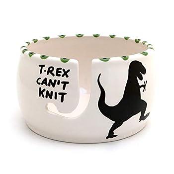 T Rex yarn bowl T-Rex Can t Knit handmade ceramic