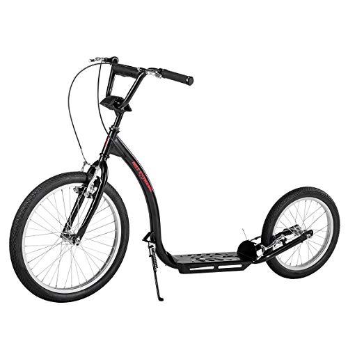 NILS City Scooter Extreme - Patinete (20-16 pulgadas, frenos V-Brake hasta 100 kg), color negro