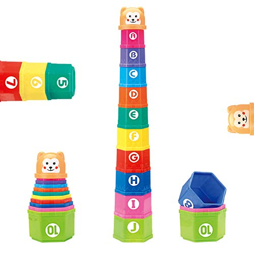 Stacking Cups for Babies,Bath Toys Early Educational Toys for Girls Boys Baby Toddler 6-12 Months, 10 Nesting Cups Building Beakers with Alphabet Number for 1 2 3 Year Old First Birthday Gift