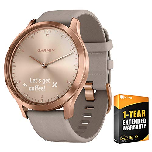 Garmin Vivomove HR Premium Rose Gold w/Gray Suede Band + Extra Band Granite Blue (010-01850-19) with 1 Year Extended Warranty