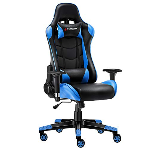 JL Comfurni Gaming Chair Office Desk Chair Ergonomic Swivel PC Computer Chairs Heavy Duty Recliner High Back with Lumbar Cushion (Black&Blue)