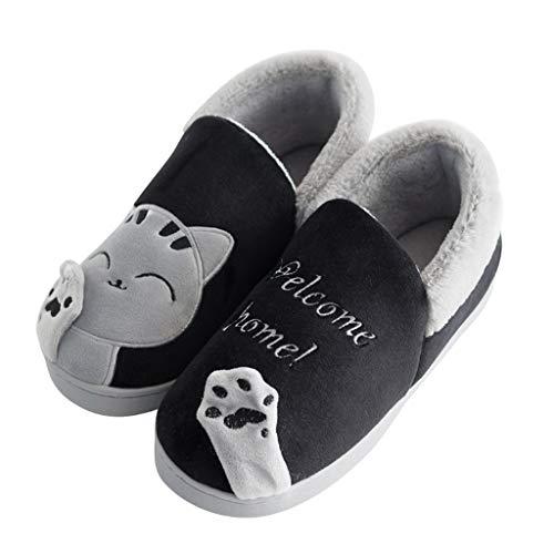 WHSHINE Cute Cat Pantoffeln, Cosy Winter Warm Neuheit Pantoffeln, Soft Plüsch für Indoor/Outdoor, Anti-Rutsch-Haus Pantoffel Schuhe, für Damen und Herren