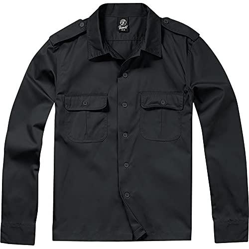 Brandit US Hemd Langarm Camisa, Schwarz, XXL para Hombre
