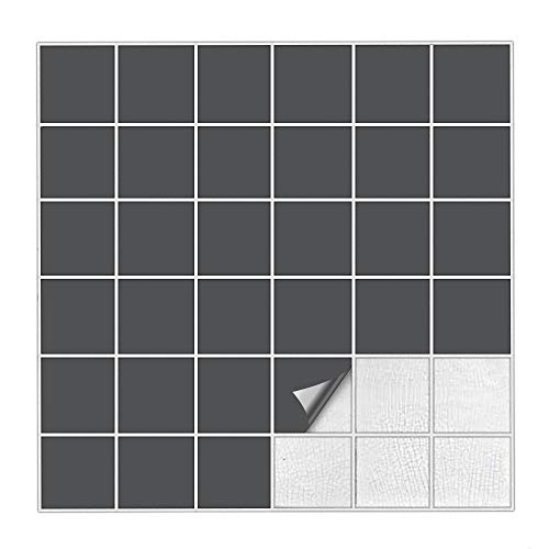 Kiwistar Fliesenaufkleber Dunkelgrau 73 Seidenmatt - 5 x 5 cm - 25 Stück - Für Bad, Küche etc