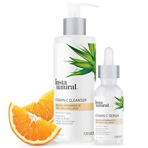 Vitamin C Face Serum & Wash Bundle - Brightening,...