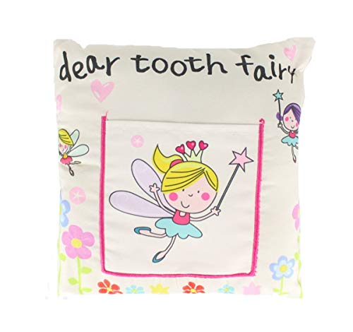 Children's Boys/Girls Tooth Fairy Money Pillow Cushion with Note/Letter Pocket -White