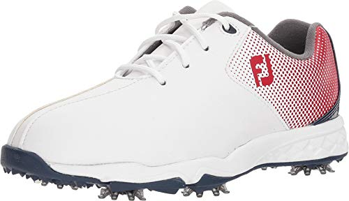 FootJoy Boys D.N.A. Helix Junior Golf Shoes White 3 M Red/Blue, US Big Kid