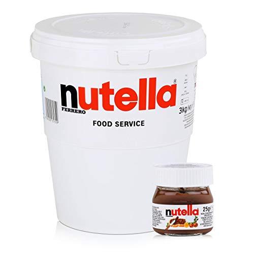 Ferrero Nutella Geschenk-Eimer mit Mini-Design Glas, Mailorder Edition, 1er Pack (1 x 3,025kg)