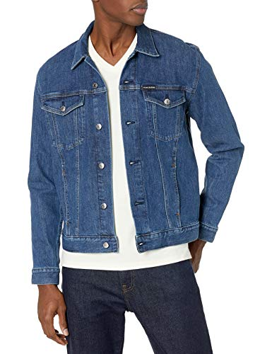 Calvin Klein Men's Denim Trucker Jacket, Iconic ck Indigo, 2X-Large