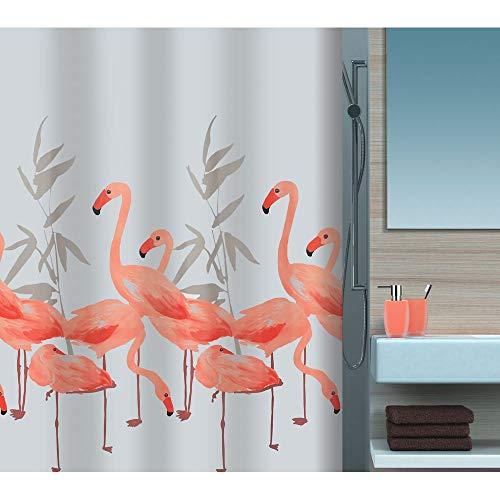 """Spirella Anti-Schimmel Duschvorhang - Anti-Bakteriell, waschbar, wasserdicht, Polyester, """"Flamingo"""" 120x200cm"""