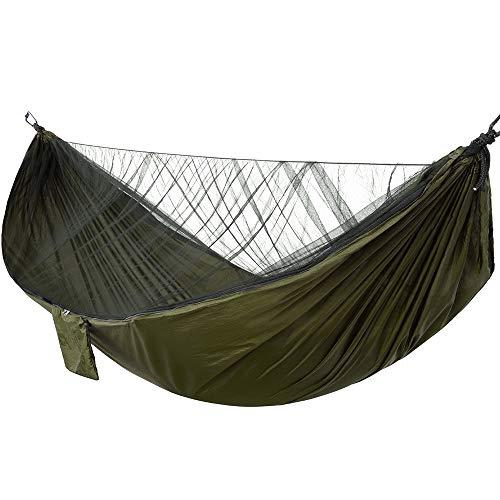 Rosepoem Hamaca de camping con mosquitero de 200 kg de carga ligera Hamacas portátiles hamaca móvil para acampar fuera viajes senderismo senderismo mochilero