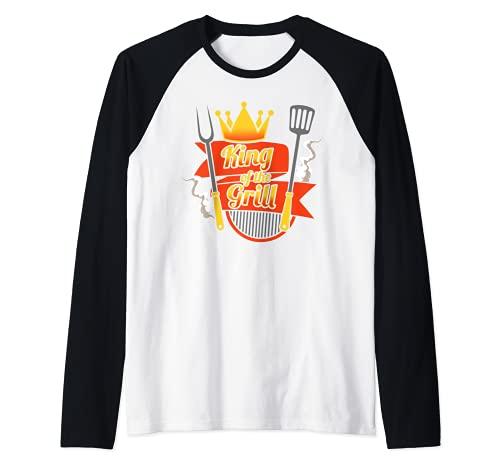 Rey de la parrilla maestro cocinero cocinar barbacoa Camiseta Manga Raglan