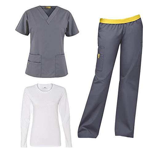 WonderWink Origins Women's Medical Uniforms Scrubs Set Bundle- 6016 Bravo V-Neck Scrub Top & 5016 Quebec Elastic Cargo Scrub Pants & Marc Stevens Underscrub Tee (Pewter - Large/Large Tall)