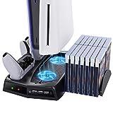 MoKo Soporte de Carga, Compatible con Sony PS5 Juegos 3-in-1 con Ventilador de Refrigeración, Cargador de Gamepad, 14 Piezas de Ranura para Tarjetas de Juego - Negro