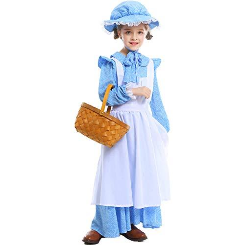 Vrouwen Maid Party Kostuum Storybook Sprookjesboek Europese Pastorale Stijl Jurk Licht Blauw