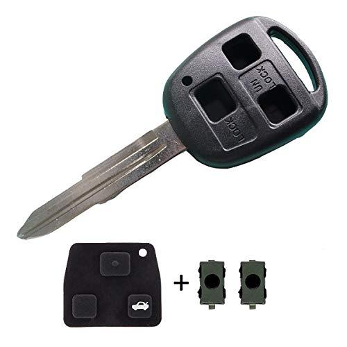 Guscio Portachiavi Accessori Ricambi Cover Copri Chiave Telecomando Auto 3 Tasti Compatibile Con Toyota Yaris – Verso - MR2 (Guscio+Tasti+Switch)