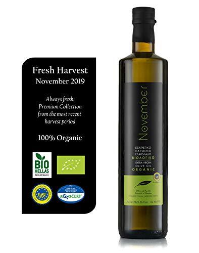November Extra natives Bio-Olivenöl – außergewöhnlicher Geschmack und Aroma (BIO Griechenland – kalt gepresst – griechisch – Kreta – PGI Chania) (500 ml) (750ml)