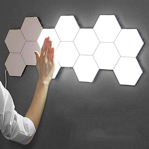 New York Wall Tiles Modular Touch Wall Hexagon Wall Light Modular Touch Sensitive Lights Honeycomb Decorative Bright LED Panels for Lighting A Wall for Inside 5 Pack