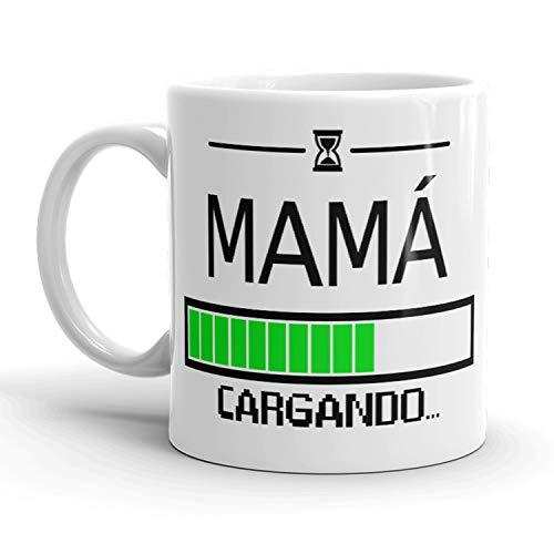 Kembilove. Taza de Café para Mamá con Frases Graciosas y Originales Mamá Cargando. – Taza de Desayuno para Regalar el día del Madre – Tazas de Café para Madres y Abuelas