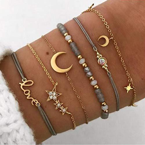 Handcess Boho - Juego de pulseras con diseño de estrella de cristal en capas de oro y luna, para mujeres y niñas (paquete de 6)