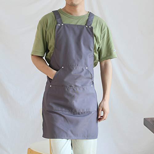 WQYH Einfache Küchenschürze Teestube/Restaurant/Kreatives Backen/Grillen/Herren und Damen Hausoverall Schürze Grau