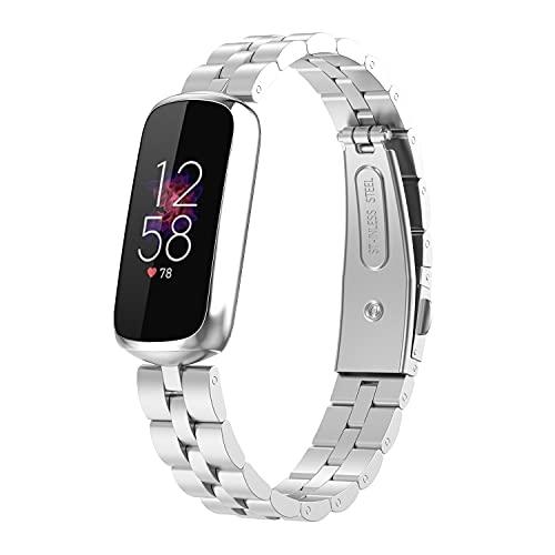 Chofit Bandas de repuesto compatibles con Fitbit Luxe correa, correas ajustables de acero inoxidable de negocios de metal para pulsera de actividad Luxe Tracker (plata)