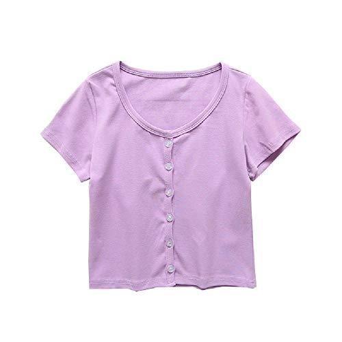 Camiseta de manga corta con cuello bajo y elástico para verano, de manga corta, lisa, de cintura alta, para mujer Morado violeta M
