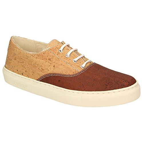 Zweigut® -Hamburg- echt #409 Herren Sneaker vegane Korkschuhe auf federleichter Laufsohle Bicolor, Schuhgröße:41, Farbe:braun-Kork