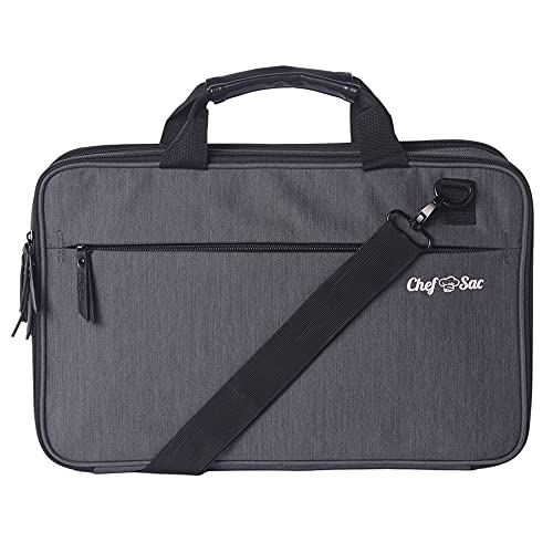Chef Knife Bag Messenger Case | 10+ Pockets for Knives & Kitchen Utensils | Large Pockets for Tablet & Notebooks | Great Gift for Chefs & Culinary Students (Grey)