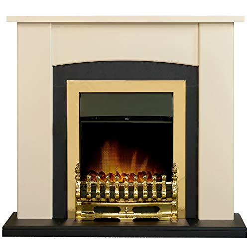 Adam Holden Fireplace Suite in Cream with Blenheim Electric Fire in Brass, 39 Inch