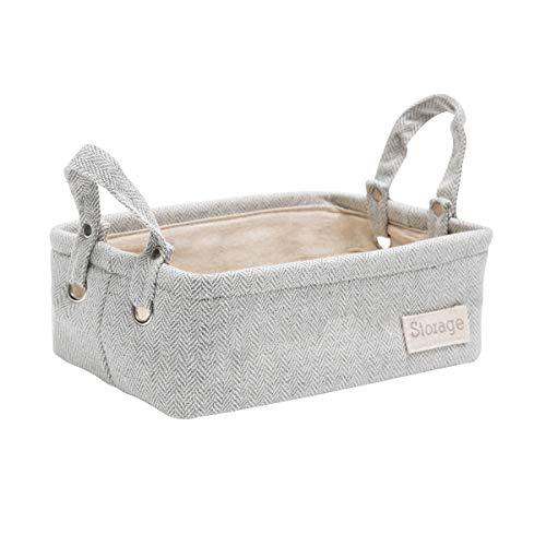 LUFOFOXStorage BasketRectangular Collapsible Grey Storage Bin Organizer with HandleforClothesStorage,11.4x7.5x4 inches