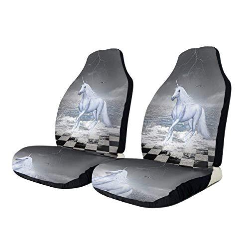 Seat Covers Meer Auf Schachbrett Mit Einem Einhornpferd 2-Teiliges Schutzkissen Autositzbezug Universeller Schalensitzbezug Für SUV Die Meisten Autos LKW Van