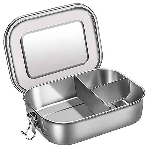LCM Fiambrera ecológica Caja de Almuerzo de Acero Inoxidable para recipientes para niños, Caja de bento de 3 compartimientos para sándwich y Dos Lados contenedor de Alimentos Contenedor Bento Box