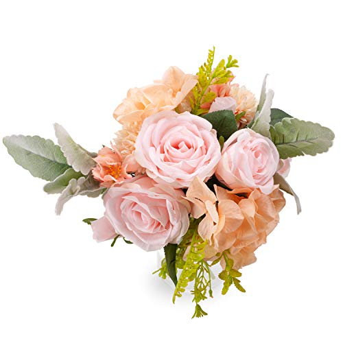 Artificial Rose Silk Flowers - 2 Pack Fake Faux Flower Bouquet Hydrangea Bundle Decorations for Home Hotel Wedding Christmas Office Tables Décor