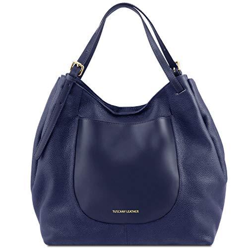 Tuscany Leather Cinzia Borsa shopping in pelle morbida Blu scuro