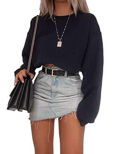 Geagodelia Pull à Manches Longue Pullover Crop Top Sweatshirt Décontracté pour Femme (Noir, S)