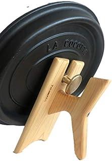 フタモッチ ストウブ用-L(ハンドル付きフタ置き 素手で持てる&置ける)檜製 リッドホルダー 24cm 26cm 27cm対応 ミトン 鍋つかみ フタ立て 鍋フタ置き 鍋フタスタンド Futamotti STAUB