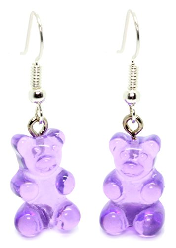 Bluebubble MY SWEET SHOP Jelly Purple Gummy Bear Dangle Earrings With FREE Gift Box