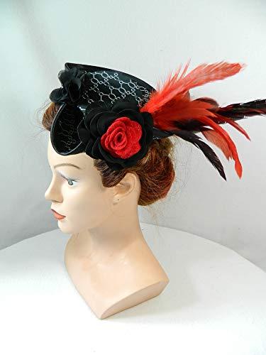 Mini Dreispitz schwarz weiß rot Brokat Marie Antoinette Barock Rokoko Western Dirndl Oktoberfest