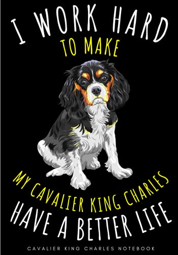 Cavalier King Charles Notebook: Large Lined Journal For Your Daily To do List Note   100 pages Decorated With Small Dogs Face Designs and Puppy Head Oranement   Funny Spaniel Dog Pet Log Book Gift to Keep track & Record Information
