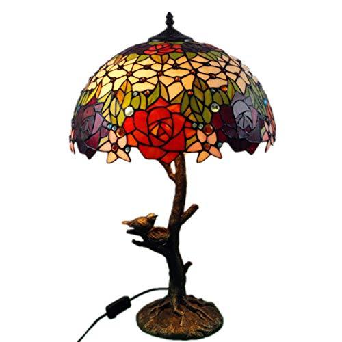 DIMPLEYA Lámpara de Mesa de Estilo Tiffany, lámparas de Cristal de Vidrio Retro, lámparas de mesita de Noche, lámpara de Escritorio de Rama de árbol de Leopardo de libélula Creativa