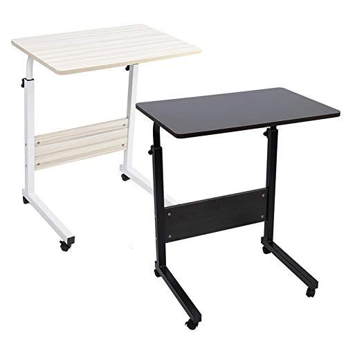 Ejoyous Beistelltisch Laptoptisch, Höhenverstellbarer 71,5-85 cm Computertisch Sofa Bett Ständer Schreibtisch Laptopständer Notebookständer mit 4 Rollen 60 * 40 cm(Weißer Ahorn)
