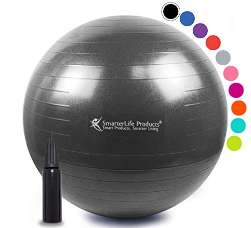 Exercise Ball for Yoga, Balance, Stability from SmarterLife - Fitness, Pilates, Birthing, Therapy, Office Ball Chair, Classroom Flexible Seating - Anti Burst, Non Slip + Workout Guide (Black, 65cm)