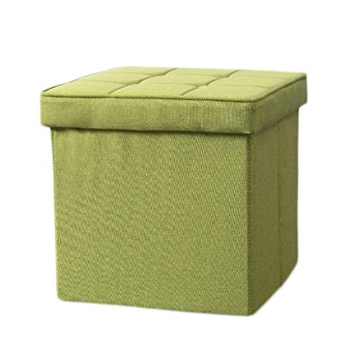 LINGZHIGAN Tabouret de rangement pour boîte de rangement de ménage en ottoman en lin de coton La charge maximale est 100kg - Facile à nettoyer -48 * 48 * 37cm LINGZHIGAN (Color : Green)