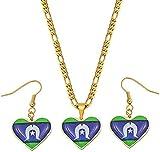 Mxdztu Co.,ltd Collar Conjuntos De Joyas Colgantes Collares Pendientes Mujeres Niñas Joyería De Papua Guinea Bandera Longitud 60 Cm X 3 Mm Cadena