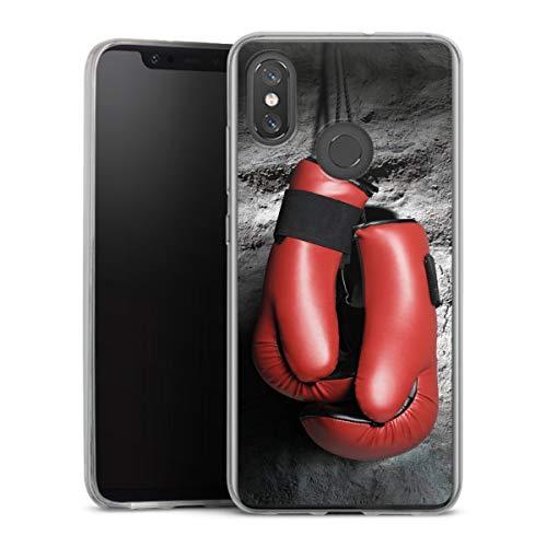 DeinDesign Slim Case extra dünn kompatibel mit Xiaomi Mi 8 Pro Silikon Handyhülle transparent Hülle Boxen Boxhandschuhe Sport