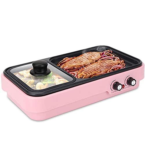 2 en 1 Parrilla eléctrica sin Humo y pote Caliente eléctrico de Olla Caliente Barbacoa Pote Caliente Multifuncional, fácil Limpieza, Gran Capacidad para 1-4 Personas, Rosa (Color : Pink)